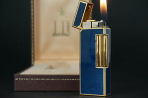 Dunhill Rollagas Lighter  Gold plated Lacquer Lapis Lazuli  Working #W19