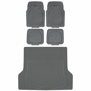 5pc Deep Dish Heavy Duty Rubber Car Floor Mats Front Rear Trunk Cargo Liner Set