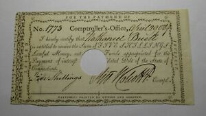 1789 5s Connecticut Colonial Currency Interest Certificate Oliver Walcott Signed