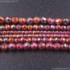 Natural Hematite Gemstone Rose Plated Faceted Round Beads 4mm 6mm 8mm 10mm 15''