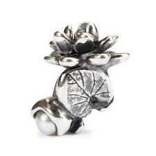 Trollbeads 'Water Lilies of July' sterling silver & Pearl bead Genuine RRP £45