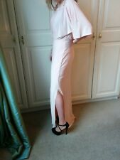 Ladies Asos Blush Pink Dress Side Slit 3/4 Sleeves Wedding Occasion Bridesmaid