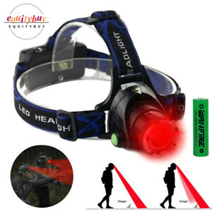Red LED Light Headlamp Zoom Head Light Tactical Night Hunting Flashlight 3 Mode