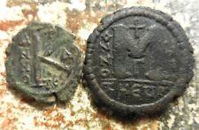 Lot of 2 VF Byzantine Coins Justin II & Sophia, 30 mm Follis & 23 mm Half Follis