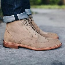 New Handmade Mens Brogue WingTip Beige Suede Boots, leather boots for men