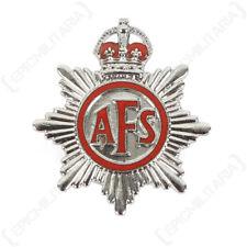 Original Auxiliary Fire Service Lapel Badge - Vintage Kings Brigade Silver AFS