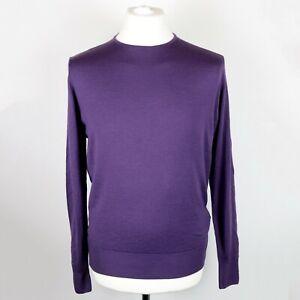 Mens JAEGER 100% Merino Wool Knitted Sweater Jumper size MEDIUM Pullover Crew