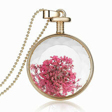 Elegant Pink Red Small Flowers Round Perfume Bottle Pendant Necklace N408