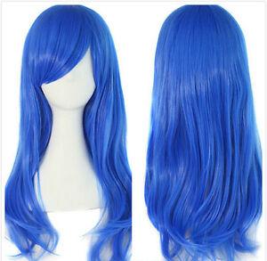 New Fashion Long Blue Straight Women Girl Anime Cosplay Hair Wig Wigs + Wig Cap