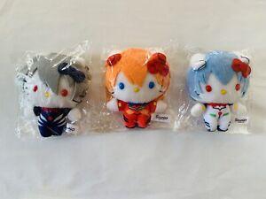 Evangelion x Hello Kitty mascot Key Chain, popular 3 piece special set Kawaii