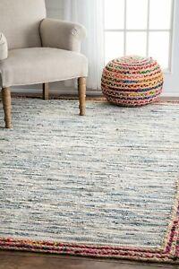 nuLOOM Handmade Braided Denim Rag Cotton and Jute Blend Area Rug in Light Blue