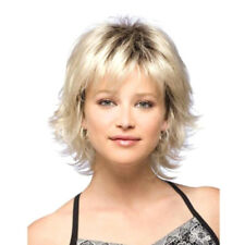 Women Girls Short Blonde Curly Hair Wavy Full Wig Synthetic Cosplay Fancy Hair