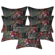 Decorative Cotton Abstract Green 24x24 Vintage Patchwork Bohemian Pillow Covers