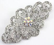 Clear Fancy Austrian Rhinestone Crystal Swirl Bridal Wedding Brooch Pin