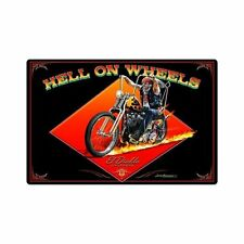 Larry Grossman Hell On Wheels Flame Biker Chopper Retro Sign Blechschild Schild