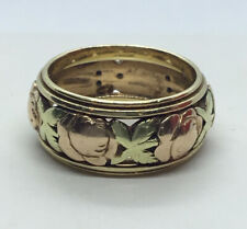 Antique Deco JABEL 14K Rose Yellow Gold ROSE Floral RING Band SZ 7 Eternity Wed
