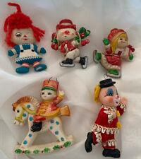 Vintage Macau Elf Hang Ups Lot of 6 Dwarf Gnome Christmas Hard Plastic Ornaments