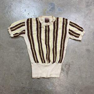 Vintage 1930s 1940s Cotton? Short Sleeve Knit Sweater Sz Medium?