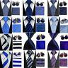 Classic Blue White Striped Necktie Men''s Tie Cufflinks Hanky Handkerchief Set