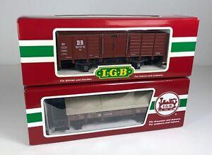 52: LGB 41235 + 43210, 2 DR-Güterwagen, OVP, NEU!