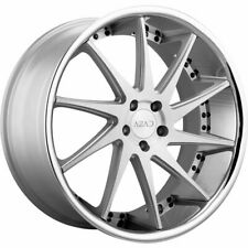 22x9 Azad AZ23 5x115 15 Silver Brushed Chrome Lip Wheels Rims Set(4)