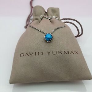 David Yurman Chatelaine Pendant Necklace with Turquoise 17 In Chain
