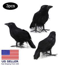3Pcs Black Raven Movie Prop Fake Crow Halloween Accessory Bird Hunting Decoy