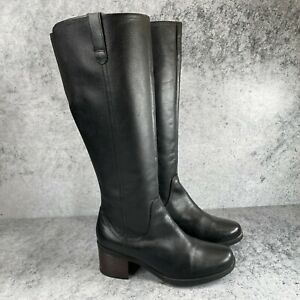 Clarks Collection Womens Black Leather Zip Tall Knee High Riding Boots Size 9 M