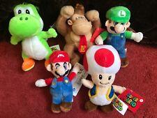 """Conjunto completo de 5 X 2018 Oficial Super Mario 6"""" bolsa de peluche de juguete nuevo etiquetas clips"""