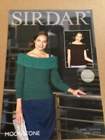 Sirdar Moonstone Aran Ladies Boat Neck Jumper Knitting Pattern 7862 Sizes 32- 54