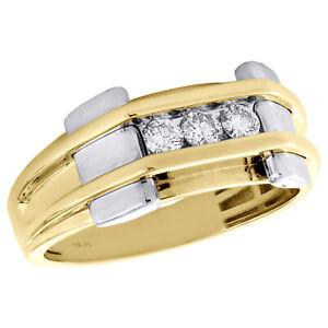 10K Gelbgold Diamant Ehering 9.75mm Herren 3 Stein Kanal Set Ring 1/3 Karat