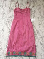 Nanette Lepore Womens' silk shantung pink gingham sundress with flowers, Size 4
