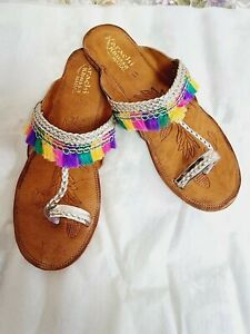 Pakistani/indian kohlapuri chappal/sandal hand made leather, size 4