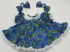 """Doll Clothes: Fits 14""""Baby Alive Doll: Blue Christmas Print/Ruffled Dress Set"""
