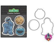 COOL NEW RETRO SESAME STREET SET OF 3 METAL COOKIE MONSTER COOKIE PASTRY CUTTERS