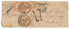 1872 MONTEVIDEO MILANO VIA LONDRA COPPIA SEGNATASSE c 60 +50 VIA DI MARE € 1.250