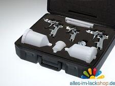 3 Spritzpistolen SET HVLP Lackierpistole 1,7mm 1,4mm 0,8mm Düse Druckminderer