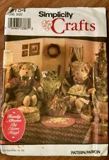 Craft Adult Bear Clothes Decor Sewing Pattern Simplicity 8154 Uncut