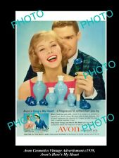 LARGE HISTORIC ADVERTISING OF AVON COSMETICS 1959, AVON HERE'S MY HEART
