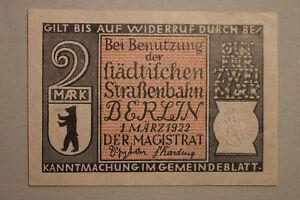 Notgeld Notgeldschein 1922 Berlin 2 Mark Straßenbahn Personenpost 1861 geprägt !