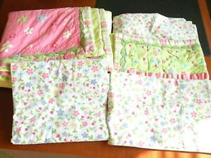 5 pcs Circo Pink Green Floral Comforter Sham Sheet, Pillow Case Fitted Sheet Set