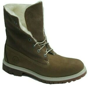 "Womens Ladies Timberland 6 Inch 6"" Teddy Fleece Boots Lace Up Winter 26648 Size"
