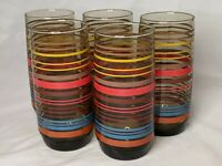 Set Of 5 Vintage Striped Glass Tumblers MCM Retro 70's Amber Glass Multicolor