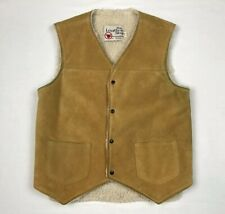 Vtg Sears Mens Leather Vest Sz Small Sherpa Lined Tan/Light Brown Western