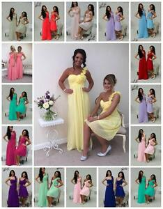 1 Shoulder Bridesmaid Dress Chiffon Maxi Long Short Ballgown Evening Ladies Prom