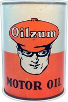 "OILZUM MOTOR OIL QUART CAN SHAPED 21"" HEAVY DUTY USA MADE METAL ADVERTISING SIGN"