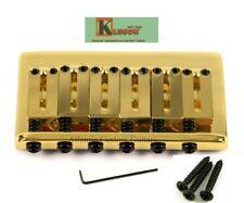 Genuine Kluson 6 String Fixed Hardtail Bridge for USA Fender Strat. GOLD KSB-G