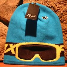 YOUTH KIDS FOX RACING BAMBOOZ  BEANIE Knit Toque Winter Hat Blue w/ Mesh Goggles