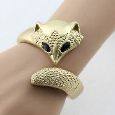 RF Gold Plated Metal Flirtatious Fox Bracelet Bangle Cuff Jewellry For Women