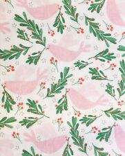 Doves and Mistletoe Christmas Cotton Print Little Johnny Fabric by the metre